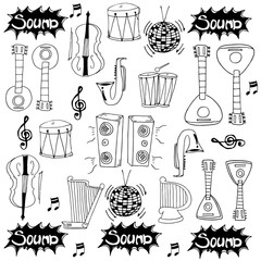 Doodle of hand draw music collection vector