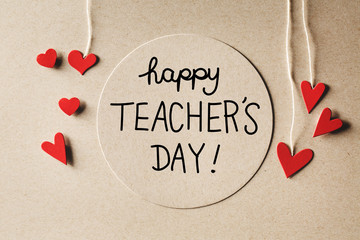Happy Teachers Day message with small hearts