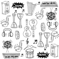 Doodle of hand draw music pack