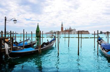 View of San Giorgio island with gondolas