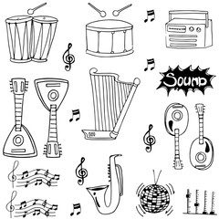Doodle of hand draw musical instrument