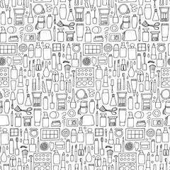 Decorative cosmetics doodle seamless pattern