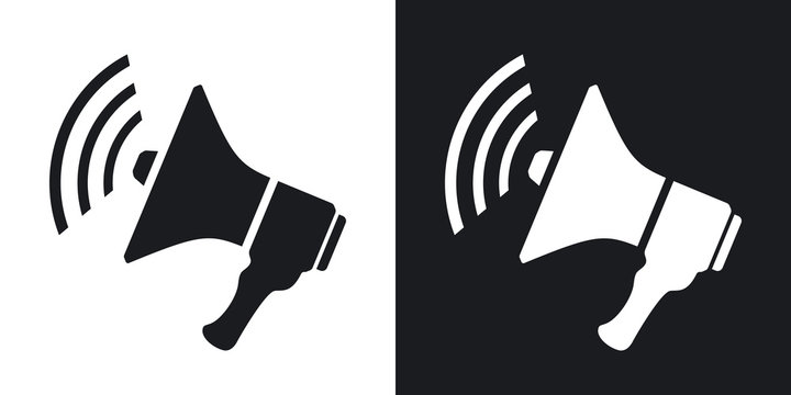 Vector loudspeaker icon. Two-tone version on black and white background