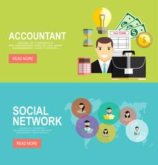 Vector modern flat design and Accountant, businessman. Global social network abstract scheme.