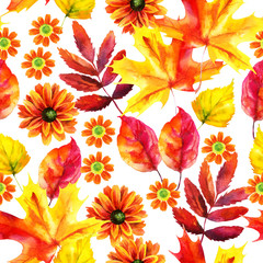 Autumn leaves and flowers watercolor seamless pattern