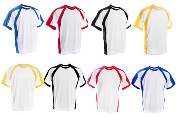 Collection of different White T-shirt with color inserts isolated on white background