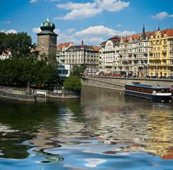 Vltava river embankment in Prague