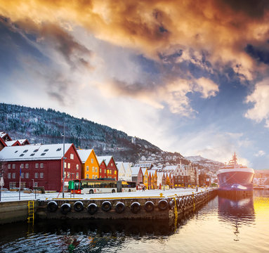 amazing view on Bryggen street in the bay in Bergen at sunset, Norway