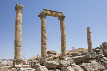 old romans ruins pillars in Jerash in Jordan