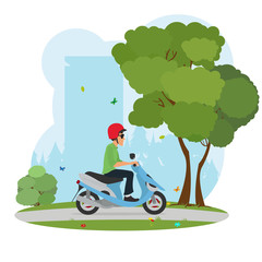 man in a helmet riding a scooter around the city park.