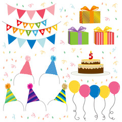 Collection set of birthday elements for party