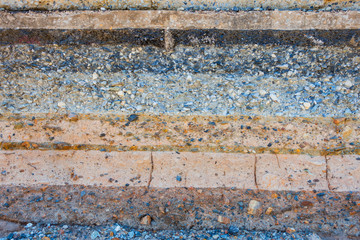 Layers soil and rock of traffic road, Layer soil paving, Layer o