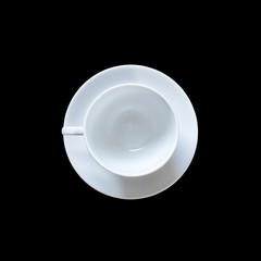 Top view empty coffee cup isolated on black. Saved with clipping