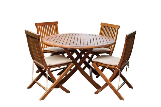 Teak wood table and chairs isolated on white background. Saved w