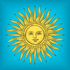 Sun with face engraving style vector illustration