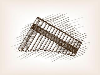Pan flute hand drawn sketch vector