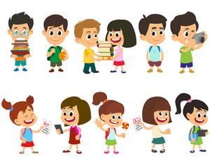 School kids happy character vector.