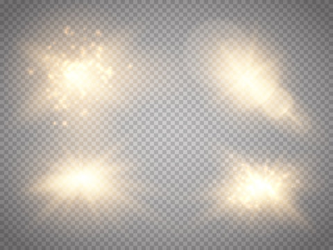Set of golden glowing lights effects isolated on transparent background. Glow light effect. Star burst with sparkles.