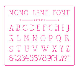 Vector mono line decorative font with hearts. Latin alphabet of vintage outline letters