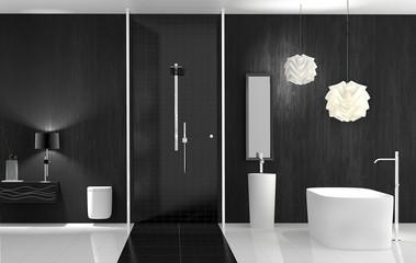 Bad mit freistehender Wanne und Dusche
