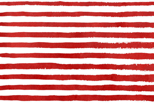Watercolor red stripe grunge pattern.