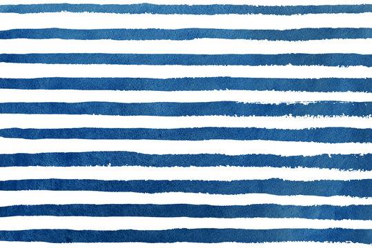 Watercolor dark blue stripe grunge pattern.