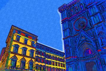 Florence Italy art illustration