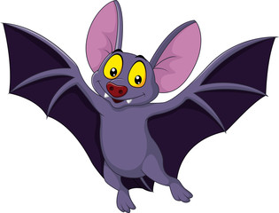 Happy bat cartoon flying
