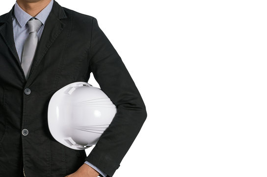 Businessman with white helmet isolated.