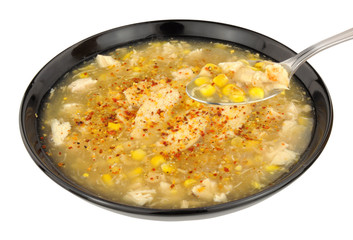 Chicken And Sweetcorn Soup In A Black Bowl