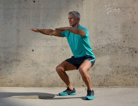 Elderly man practicing sports