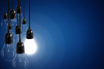 Idea concept with light bulb.