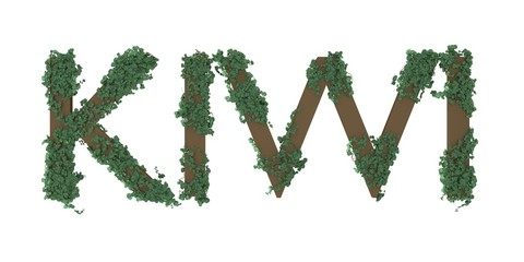 3d illustration of KIWI word with ivy and leaves