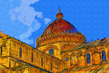 Pisa Italy art illustration