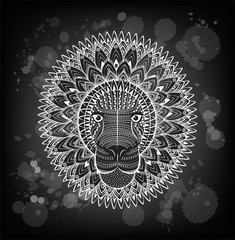 Patterned head of the lion on the grunge background. African indian totem tattoo design.