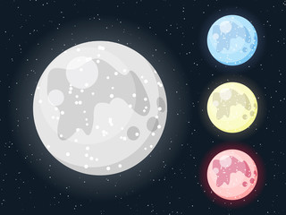 Vector colorful moon icon set on starry dark background. White moon, blue moon, yellow moon and red moon for your design.