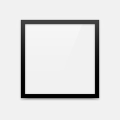 Simple black square vector photo frame empty blank template