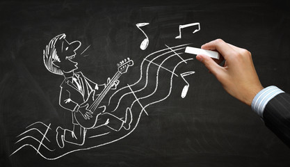 Funny musician chalk drawing . Mixed media