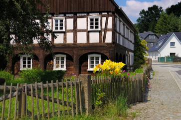 Umgebindehaus in der Oberlausitz - half-timbered house in Upper Lusatia