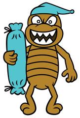 Bed Bug with Bolster Cartoon