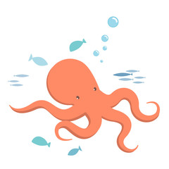 Octopus and fishes, kiddy style illustration. Vector