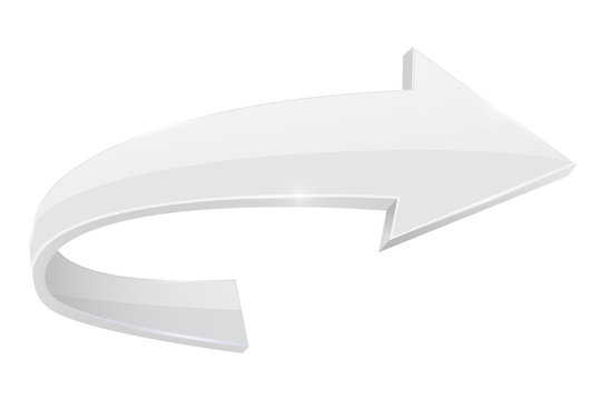White RIGHT curved arrow