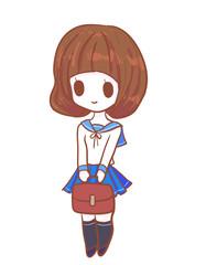 Cute japanese uniform student illustration