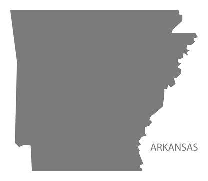 Arkansas USA Map grey