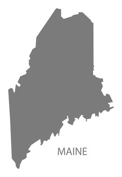 Maine USA Map grey
