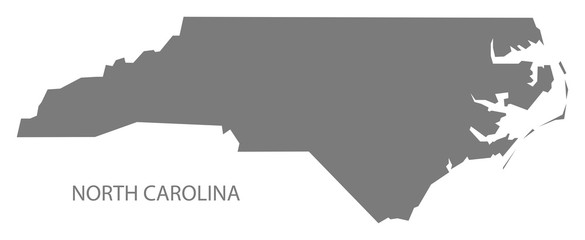 North Carolina USA Map grey