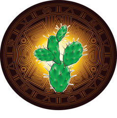 Cactus on background of stylized image of ancient Mayan calendar