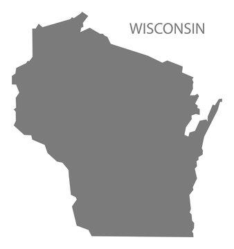 Wisconsin USA Map grey