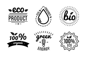 Set of labels and elements for green