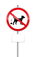 No dog pooping sign with blank place to be labeled.